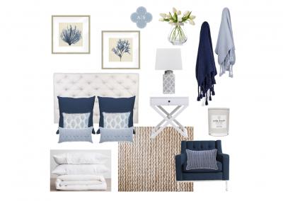 Amanda Smythe Interior Stylist eDesign Mood Board Hamptons Master Bedroom